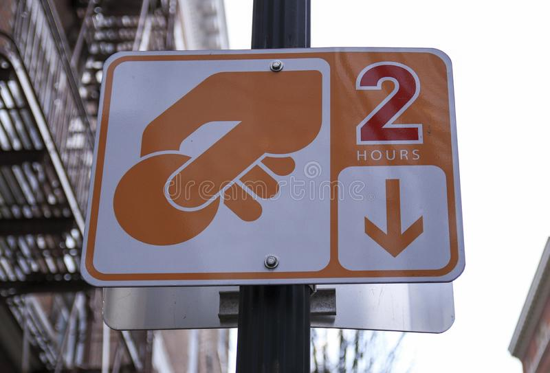 2 hours parking sign royalty free stock images