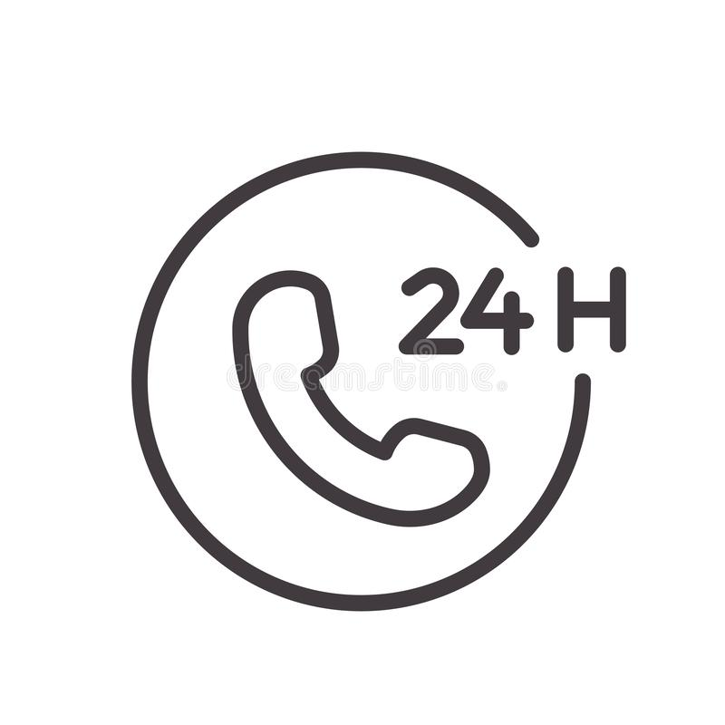 24 hours phone call service thin line icon. Vector design, easily editable. Always open and available twenty four hours.  vector illustration