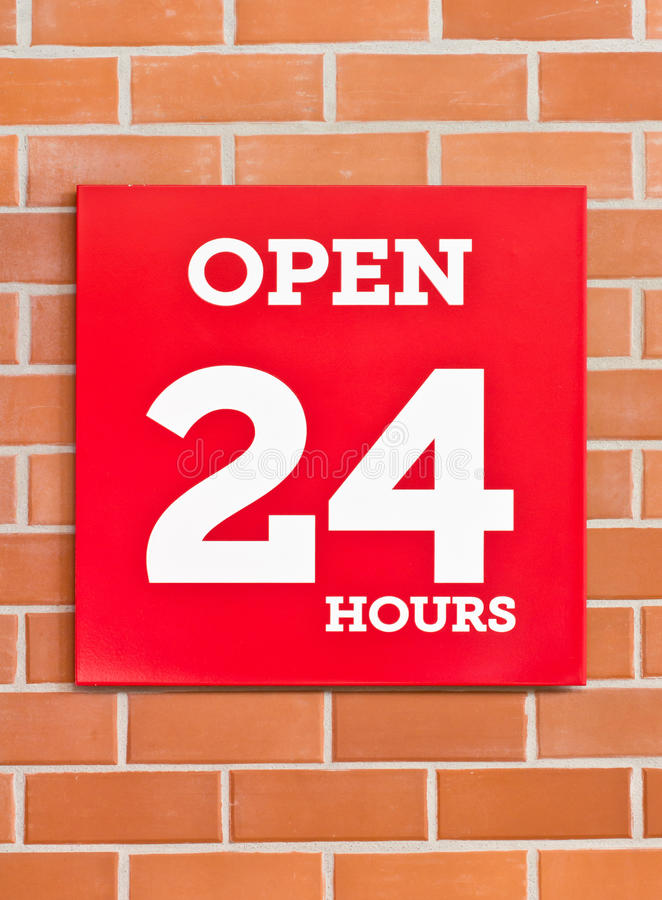24 Hours Red Signboard. stock photo