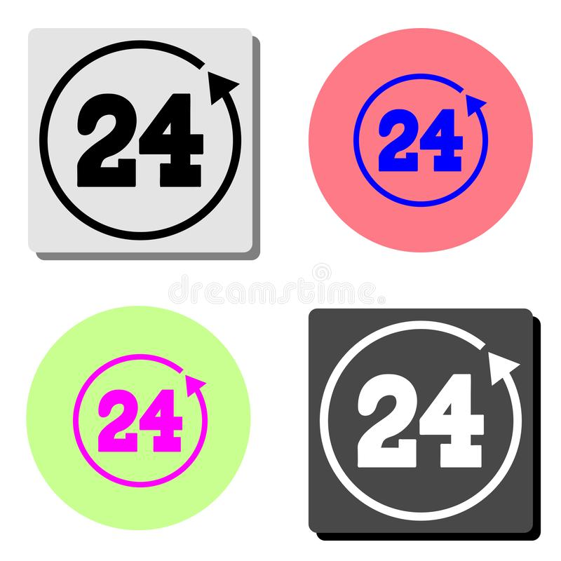 24 hours rotation. flat vector icon stock illustration