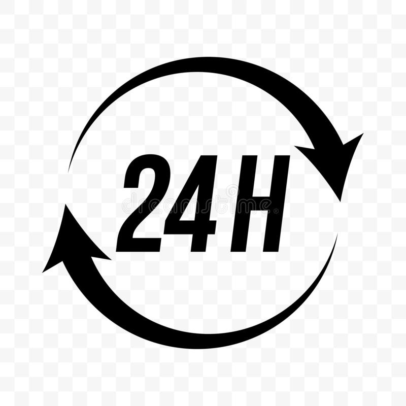24 hours round clock arrow vector icon. Customer support, delivery and open store, 24H sign. 24 hours round clock arrow vector icon. Deodorant antiperspirant royalty free illustration