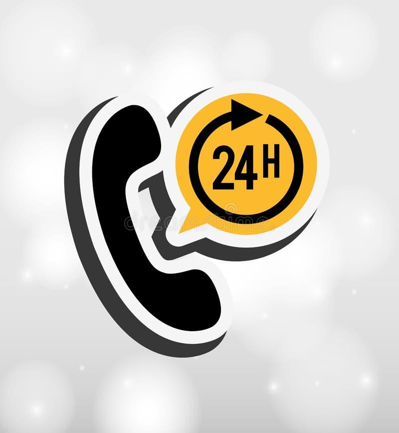 24 hours service design vector illustration