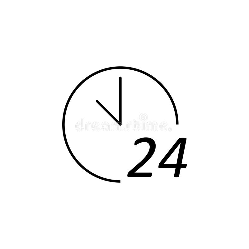 24 hours service icon. Element of market icon for mobile concept and web apps. Detailed 24 hours service icon can be used for web. And mobile. Premium icon on royalty free illustration
