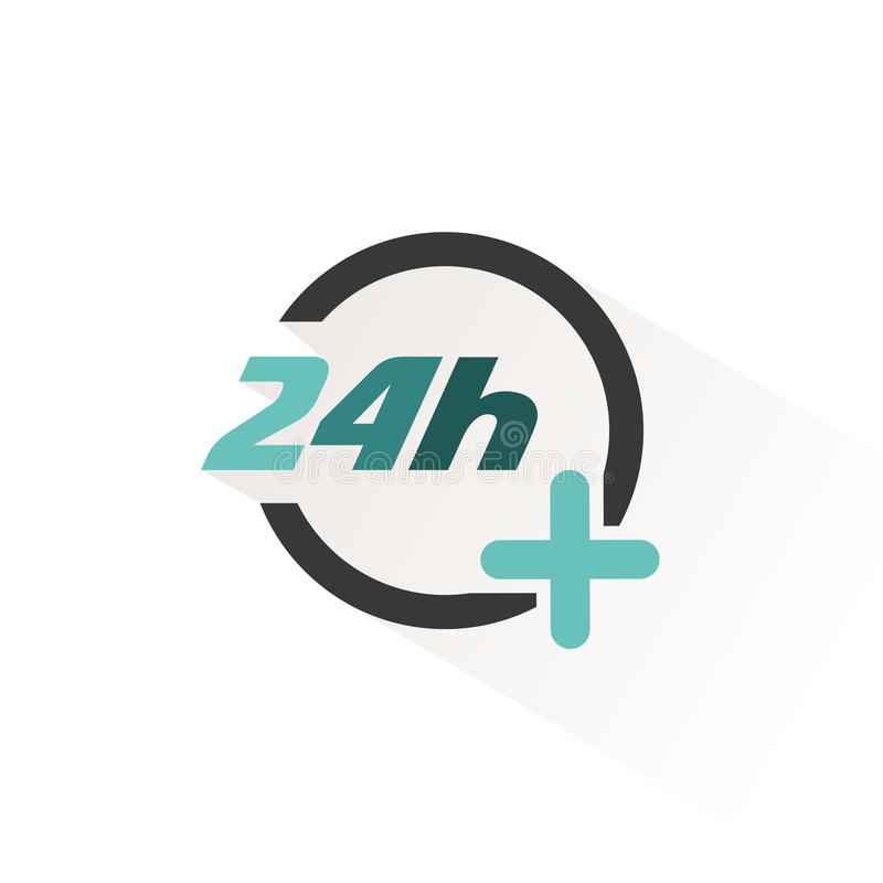 24 hours service icon. Pharmacy open symbol. Vector illustration. 24 hours service icon. Pharmacy open symbol. Isolated vector illustration vector illustration