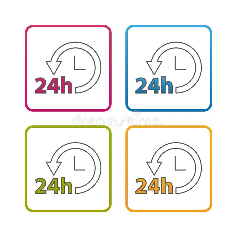 24 Hours Service - Outline Styled Icon - Editable Stroke - Colorful Vector Illustration - Isolated On White Background vector illustration