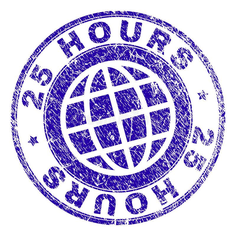 Scratched Textured 25 HOURS Stamp Seal. 25 HOURS stamp imprint with grunge style. Blue vector rubber seal imprint of 25 HOURS label with grunge texture. Seal has vector illustration
