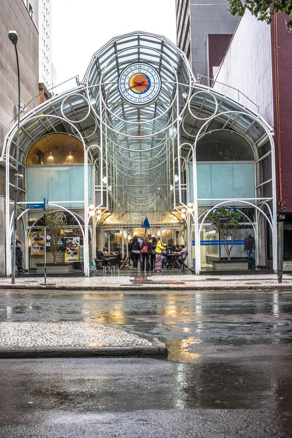 24 hours street. Curitiba, Brazil, December 29, 2017. People visit 24 Hours Street, gallery opened in 1992, is open to the public 24 hours a day with shops and royalty free stock photography