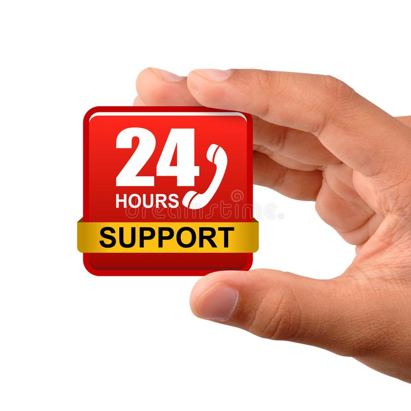 24 hours support button stock images