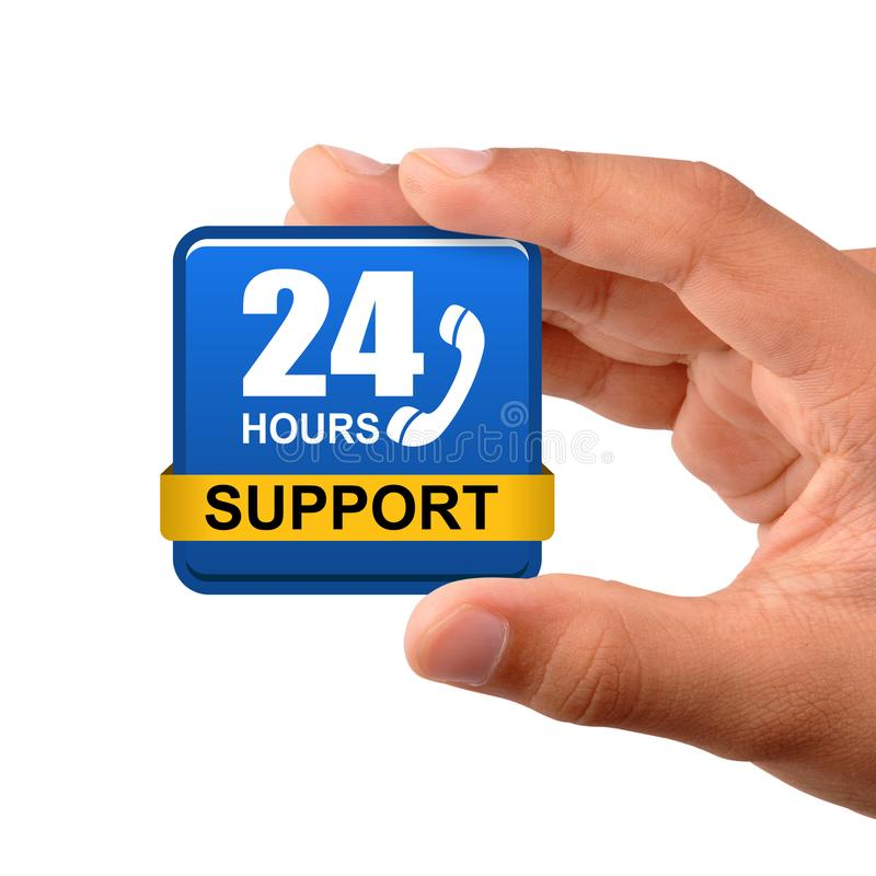 24 hours support button stock photos