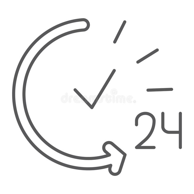 24 hours thin line icon, service and time, open all day sign, vector graphics, a linear pattern on a white background. 24 hours thin line icon, service and time royalty free illustration