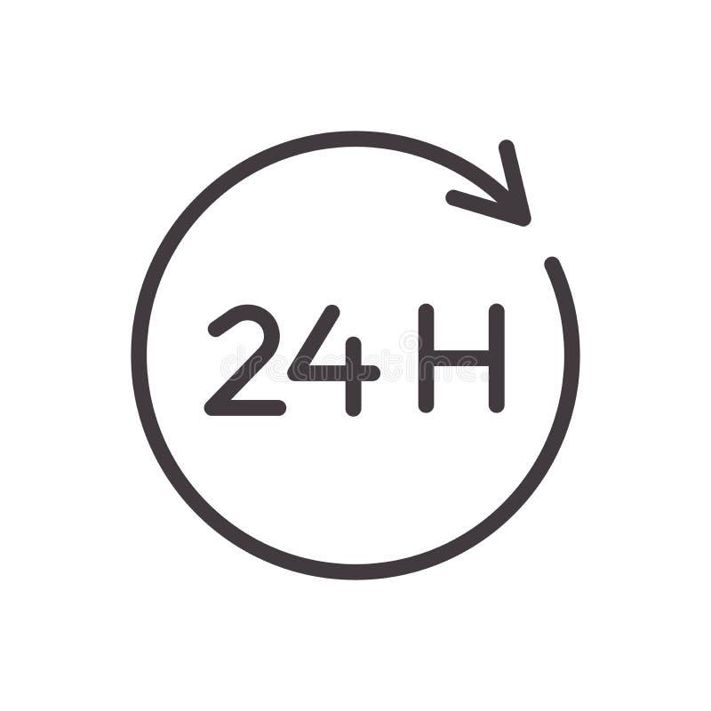 24 hours thin line icon. Vector design, easily editable. Always open twenty four hour service.  vector illustration