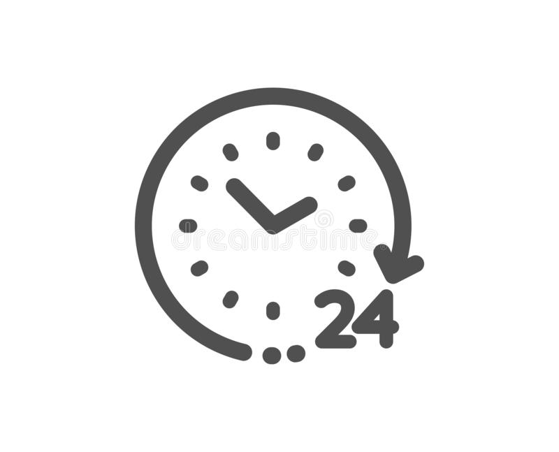 24 hours time icon. Clock sign. Watch. Vector. Clock sign. 24 hours time icon. Watch symbol. Classic flat style. Simple 24 hours icon. Vector royalty free illustration