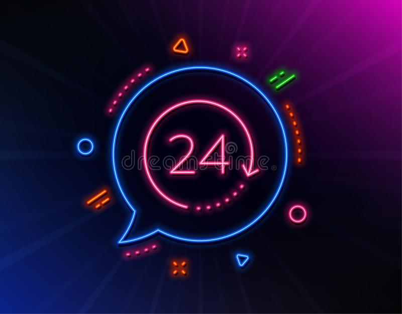 24 hours time line icon. Clock sign. Watch. Vector. 24 hours time line icon. Neon laser lights. Clock sign. Watch symbol. Glow laser speech bubble. Neon lights royalty free illustration