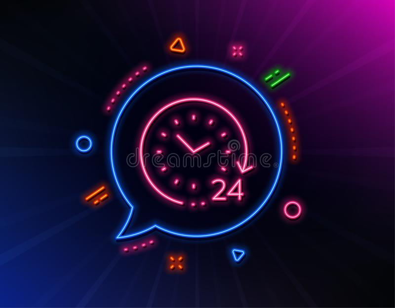 24 hours time line icon. Clock sign. Watch. Vector. 24 hours time line icon. Neon laser lights. Clock sign. Watch symbol. Glow laser speech bubble. Neon lights stock illustration