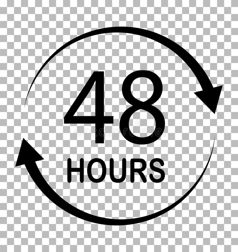 48 hours on transparent background. 48 hours sign. flat style. 48 hours icon for your web site design, logo, app, UI stock illustration
