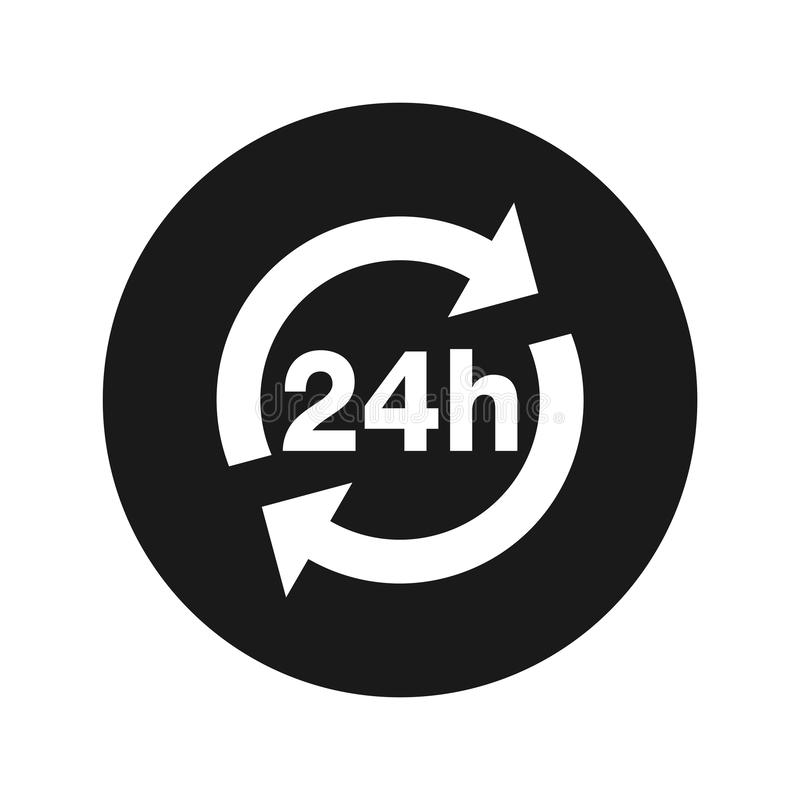 24 hours update icon flat black round button vector illustration stock illustration