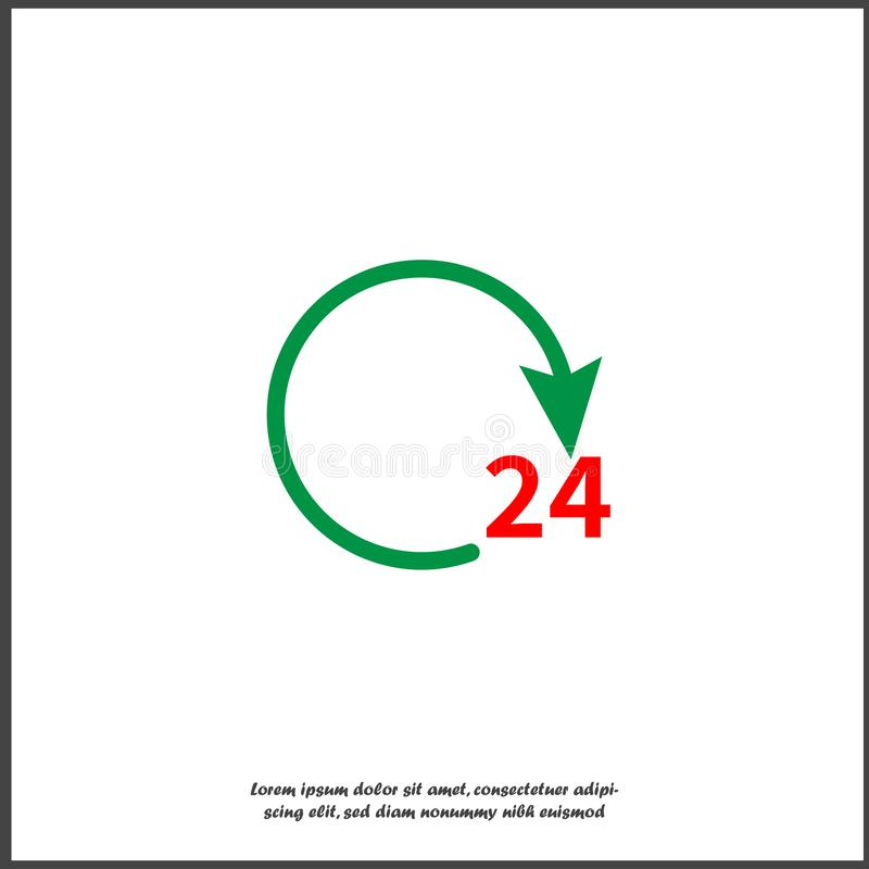 24 hours vector icon.Open and work 24 hours a day on white isolated background. Layers grouped for easy editing illustration. For your design royalty free illustration