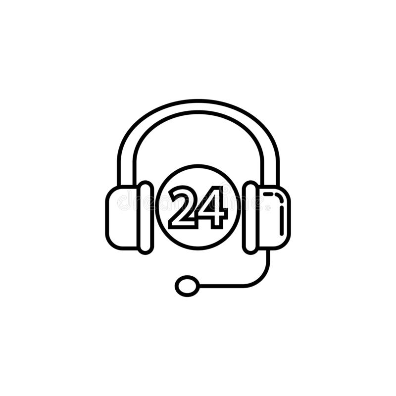 24 hours work headphones. Signs and symbols can be used for web, logo, mobile app, UI, UX stock illustration