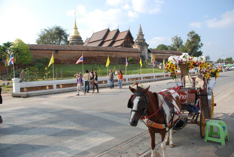 Hourse med vagnen i Lampang fotografering för bildbyråer