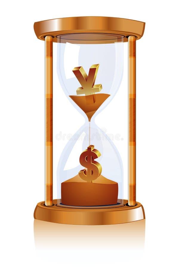 hourwatch dolarowy jen royalty ilustracja