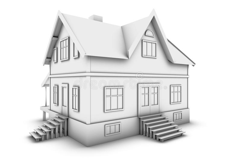 House. New family house. 3d illustration, isolated on white background stock illustration