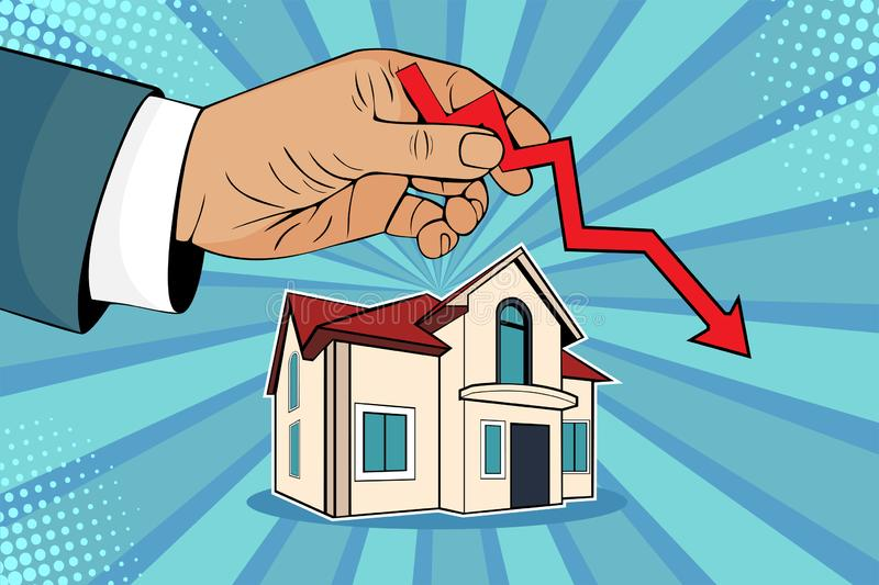Pop art falling down house prices, man hand with green arrow up and house. Falling down house prices. Man is holding green arrow up in his hand upon house stock illustration