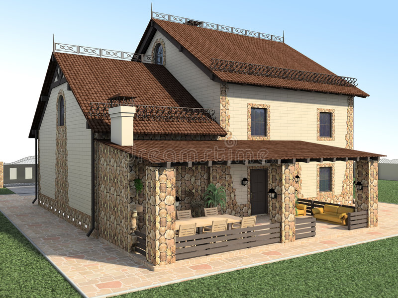 House. Large stone house. Architectural project. 3D render royalty free illustration