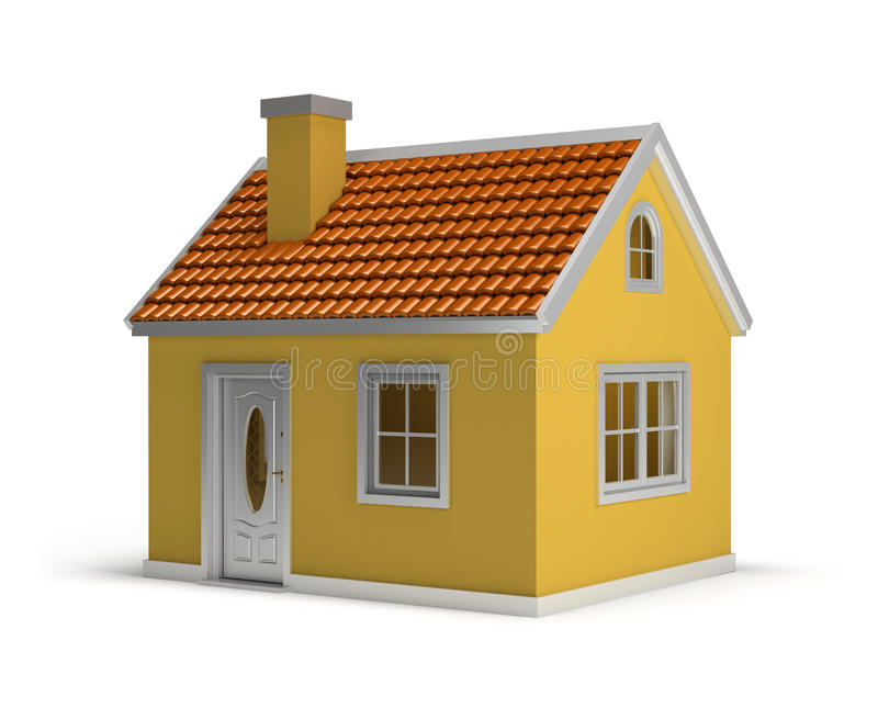 House. Yellow house. 3d image. White background royalty free illustration