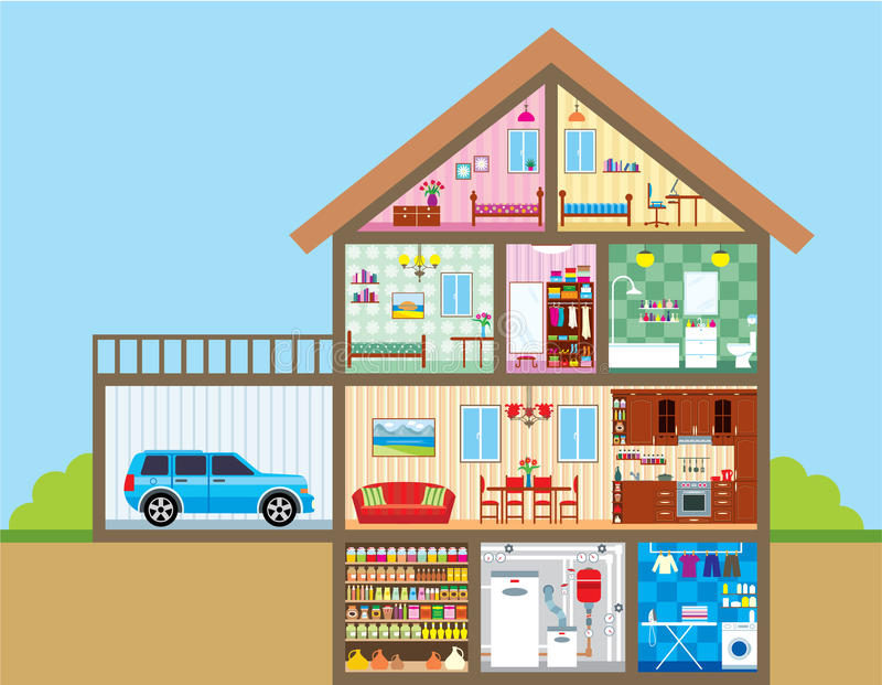 Download House stock vector. Illustration of house, inside, drawing - 24665625