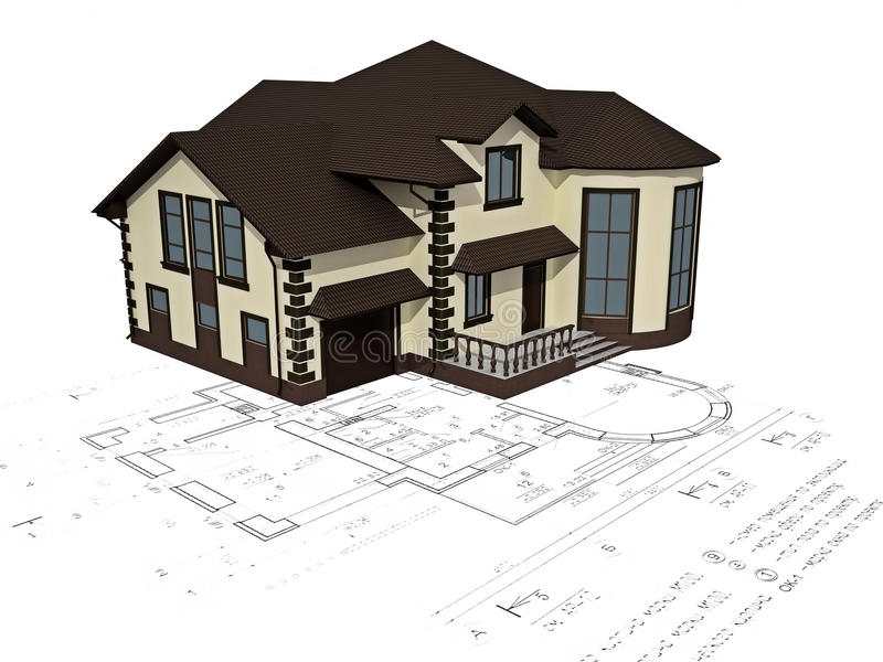 Download The House 3D Image On The Plan Stock Illustration   Illustration  Of Residential, Design