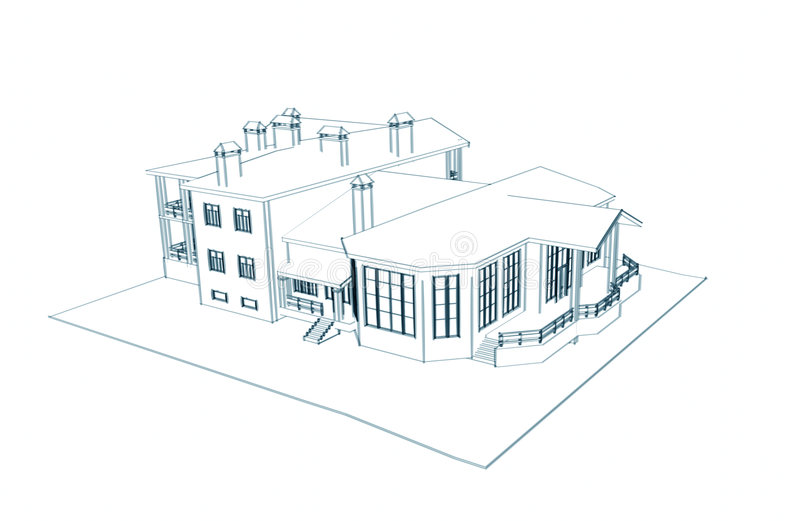Architecture 3d Technical Draw On The White Background. House ...
