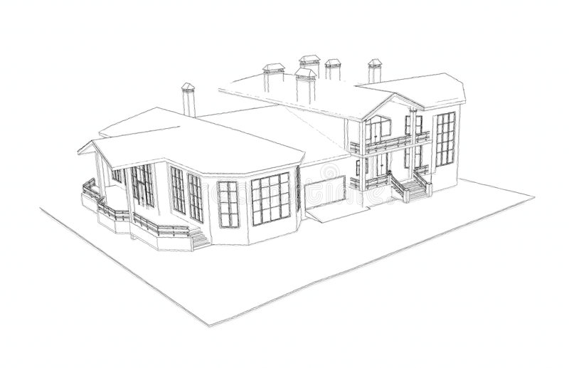 Bon Download House: 3d Technical Draw Stock Illustration. Illustration Of  Architecture   7306920