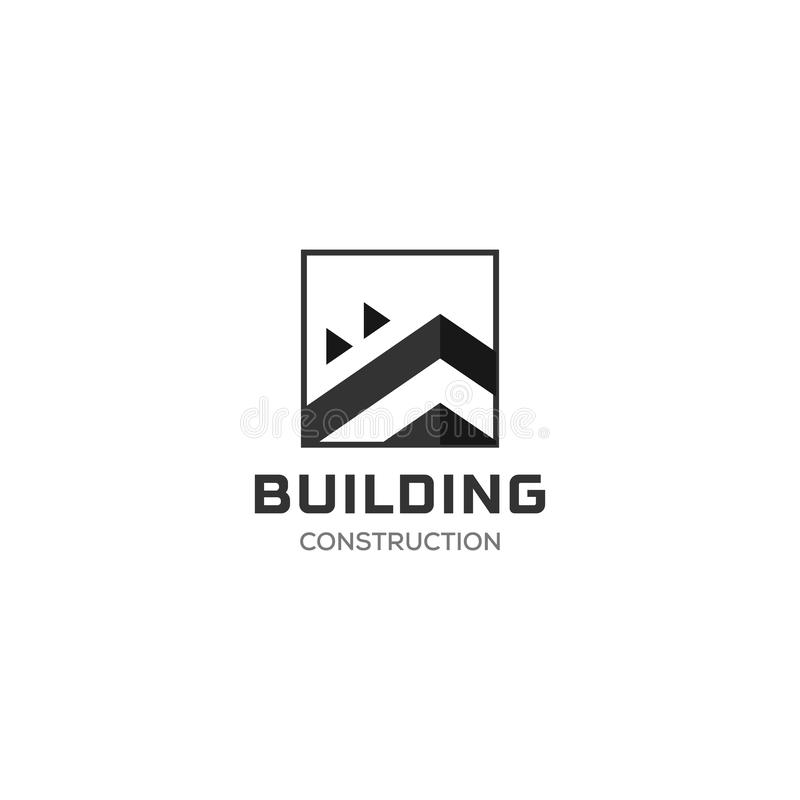 House Abstract Real Estate Countryside Logo Design Template for Company. Building Vector Silhouette, square logo royalty free illustration