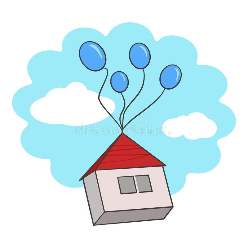 House in the air stock photo