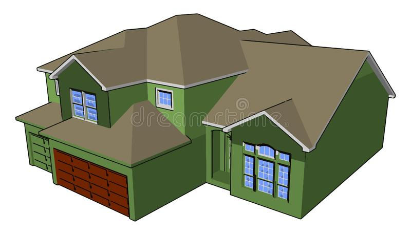 Home basic to luxury picture vector or color illustration. House also called home may be basic to luxury It is a building or architecture made by cement bricks stock illustration