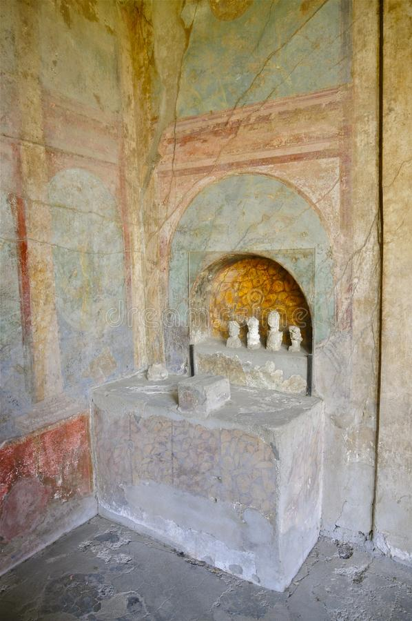 House Altar in Pompeii, Italy royalty free stock image