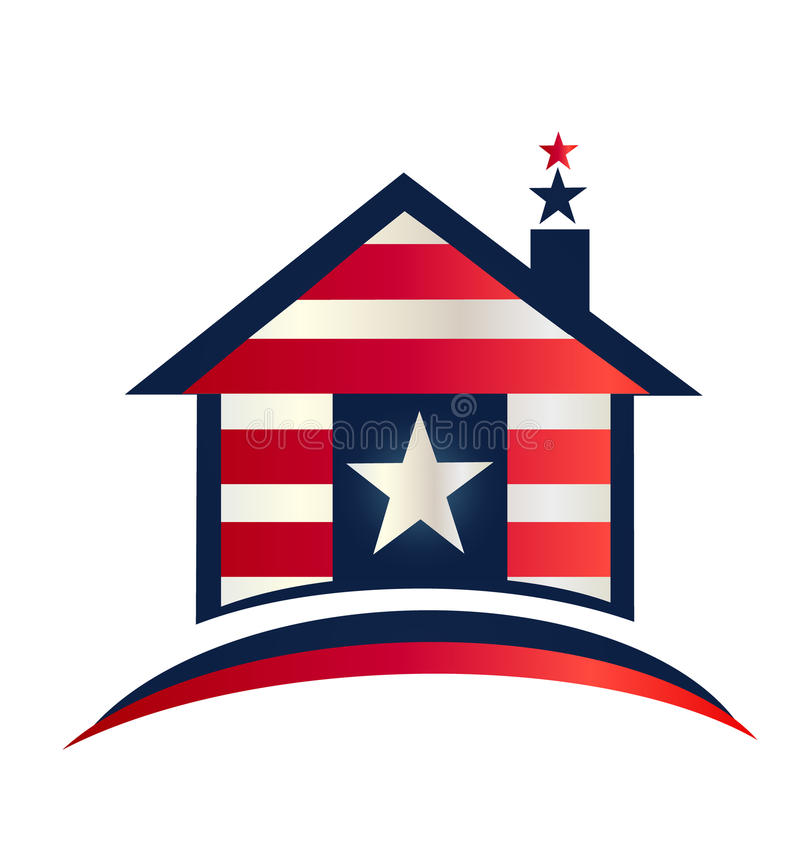 House With American Flag Design Logo Stock Vector ...