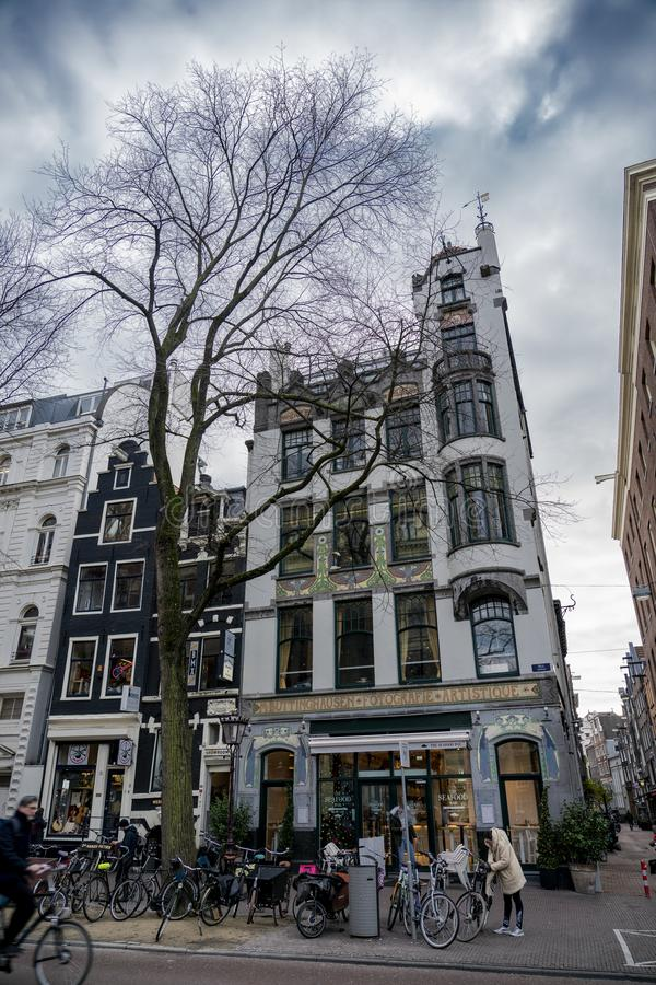 House of Amsterdam Holland. Amsterdam Holland The city of Amsterdam, capital of the Netherlands, is built on a network of artificial canals in Dutch: grachten stock photos