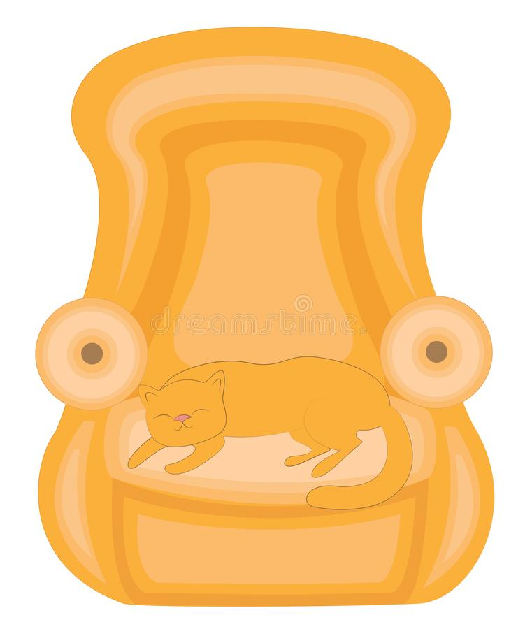 House is an animal. Red cute cat sleeping on the couch. He is happy and loved. The chair is soft and comfortable. Vector royalty free illustration