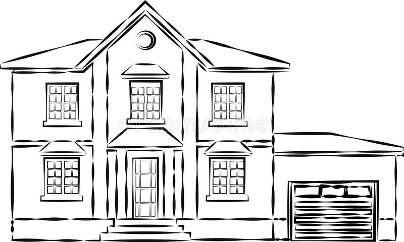 House or apartments. Family american townhouse. Neighborhood with cozy homes. Traditional Modern cottage for infographics or appli. Cation interface. Building royalty free illustration
