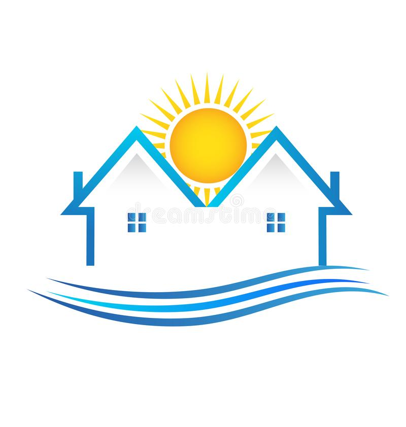House apartments real estate vector illustration logo. Design symbol royalty free illustration
