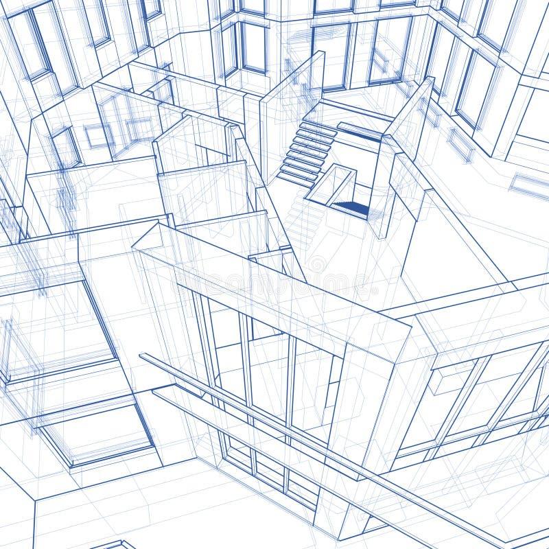 House - architecture blueprint. Architecture blueprint: house - technical draw vector illustration