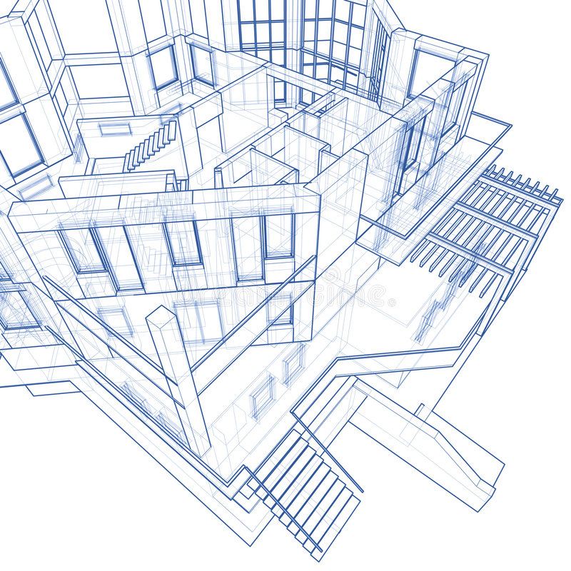 House - architecture blueprint. Architecture blueprint: house - technical draw vector illustration