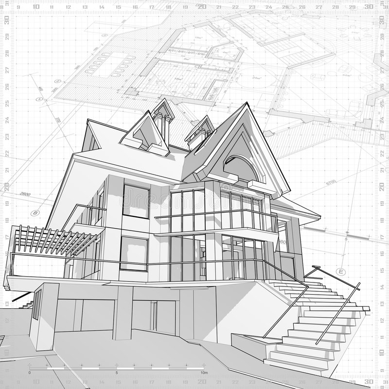 House - architecture concept. Architecture blueprint: house - technical draw royalty free illustration