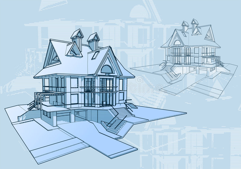 House - architecture concept. Architecture blueprint: house - technical draw stock illustration