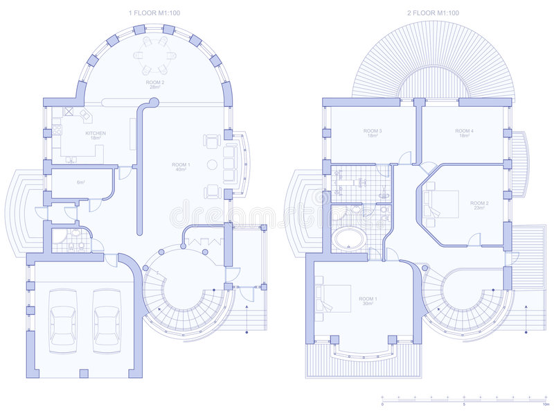 House - architecture plan. Architecture blueprint plan: house - technical draw royalty free illustration