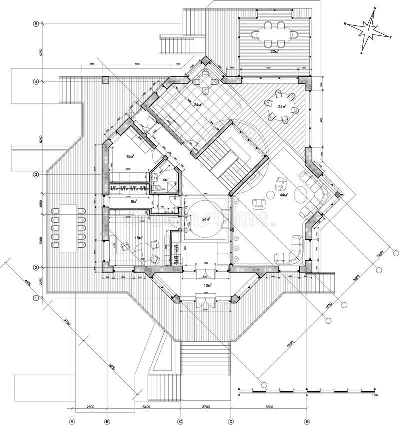House - architecture plan. Architecture blueprint plan: house - technical draw vector illustration