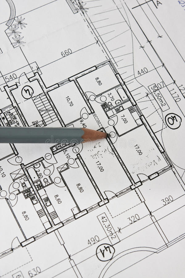 House architecture plan and pencil on paper. House architecture plan and pencil on a paper stock photography