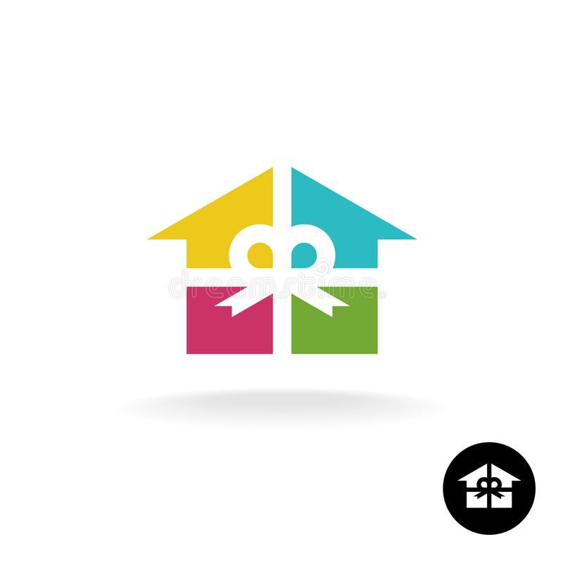House as a present logo. Colorful gift box. royalty free illustration