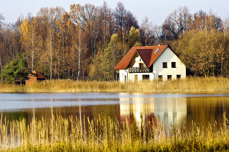 Download House ashore fores lake stock image. Image of latvia - 21960515